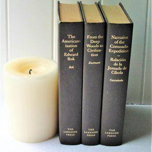 Set of 3 Lakeside Press Hardcover Gilded Books